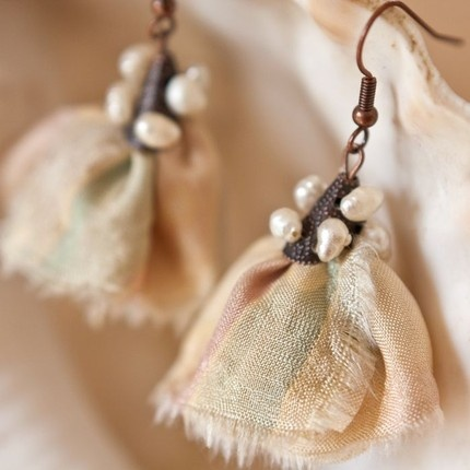 TEA ROSE Silk and Pearl Copper Earrings