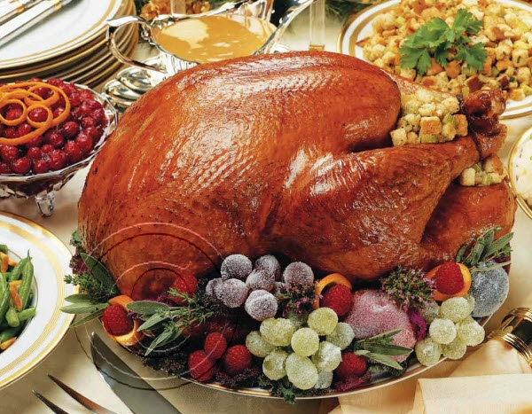 2014 Recipe Promotional Calendars - December 2013 - Turkey with Stuffing (Serves 10 to 12)  1 12 to 14 lb [5.5 to 6.5 kg] fresh or thawed turkey  ¾ cup [175 mL] unsalted butter, divided  1 large sweet onion, finely chopped  4 stalks celery, diced  2 tsp [10 mL] poultry seasoning  1 tsp [5 mL] each dried thyme & sage  1 small loaf sliced white bread, cubed  1½ cups [375 mL] turkey or chicken stock    Wash turkey... visit www.promocalendarsdirect.com/recipes for complete recipe.