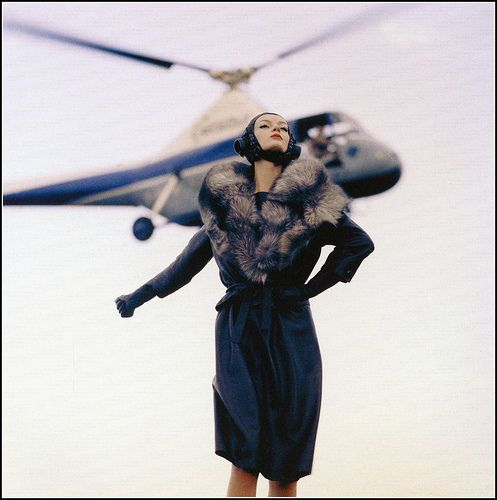 """Nena takes off for Paris"" (same shoot as ""Cardin Hat over Paris""), photo by Norman Parkinson for Queen magazine, 1960"