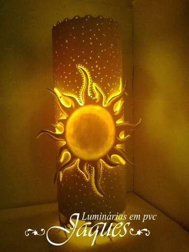 Luminária em pvc sol e lua