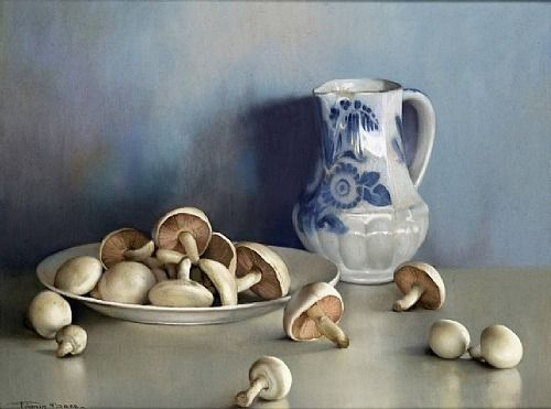 Still Life with Mushrooms and a Pitcher by Firmin Baes (Belgian, 1874-1945).: