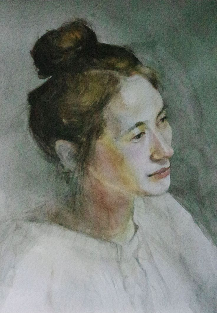 young women portrait, watercolor, aquarel, akwarela,portret,  www.farbawodna.blogspot.com