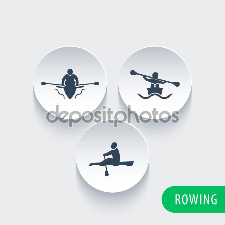 Скачать - Гребля, каяк, Каноэ, гребец иконы на круглой формы 3d — стоковая иллюстрация #82710724