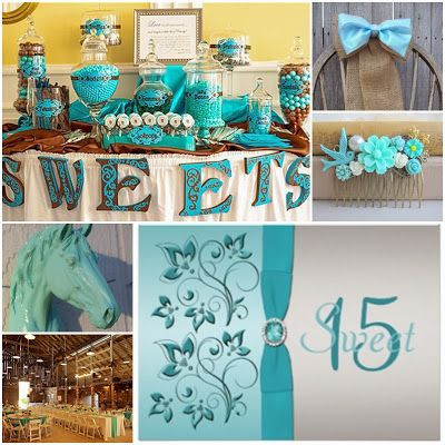 Aqua Blue Country Western Sweet Fifteen Theme #quinceanera