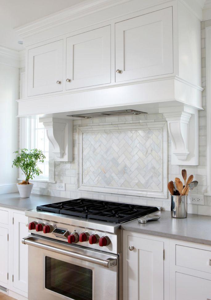 Herringbone Marble Tile Kitchen Backsplash