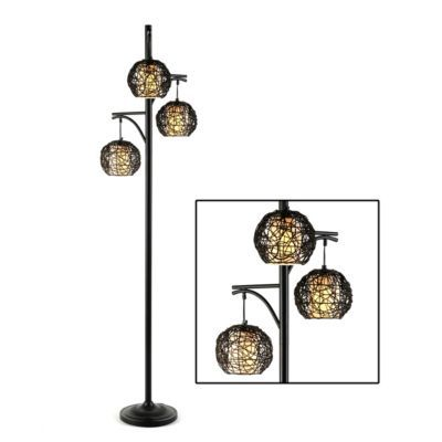 Triple wicker floor lamp floor lamps love this and love for Kirklands floor lamp with shelves