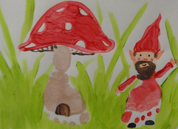 Mushroom house and a Gnome - by Candra Faulkner