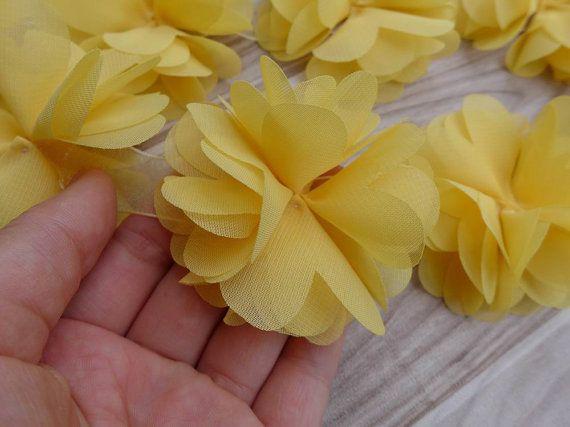 Flor de Gasa suave remate en amarillo para bodas, flor de la venda, ligas suministros bricolaje flor, ramillete de la muñeca,