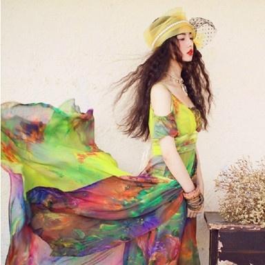 Elegant Embroidery Off Shoulder Long Dress Green
