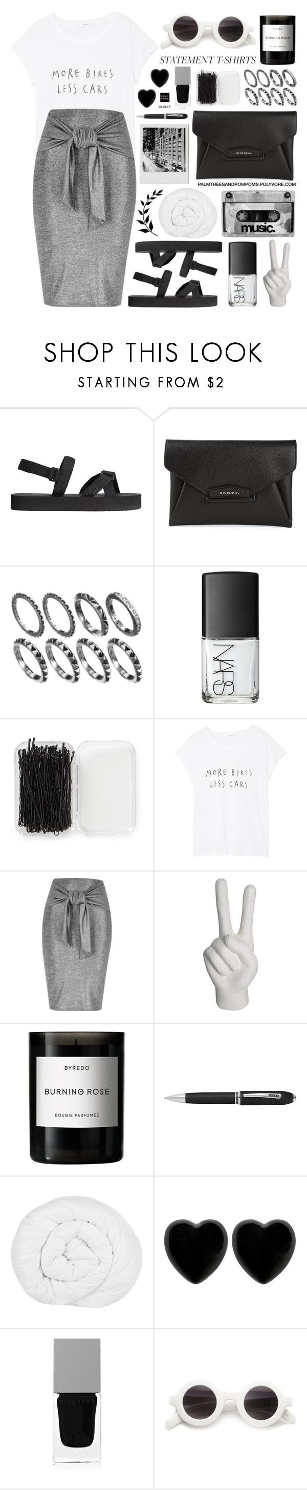 """""""Say What: Statement T-Shirts"""" by palmtreesandpompoms ❤ liked on Polyvore featuring H&M, Givenchy, NARS Cosmetics, Forever 21, MANGO, River Island, Noir, Byredo, The Fine Bedding Company and Dollydagger"""
