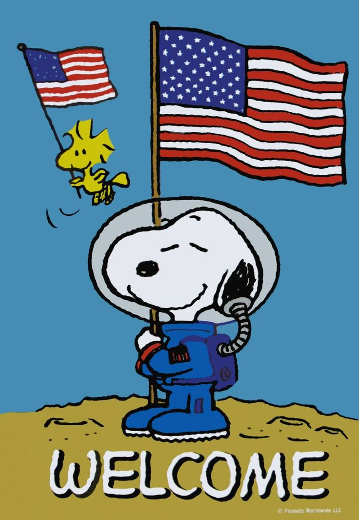 Snoopy And Woodstock Landing On The Moon And Holding