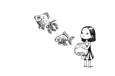 Saatchi Online Artist Indrė Bankauskaitė; Drawing, Girl and the Fish #art