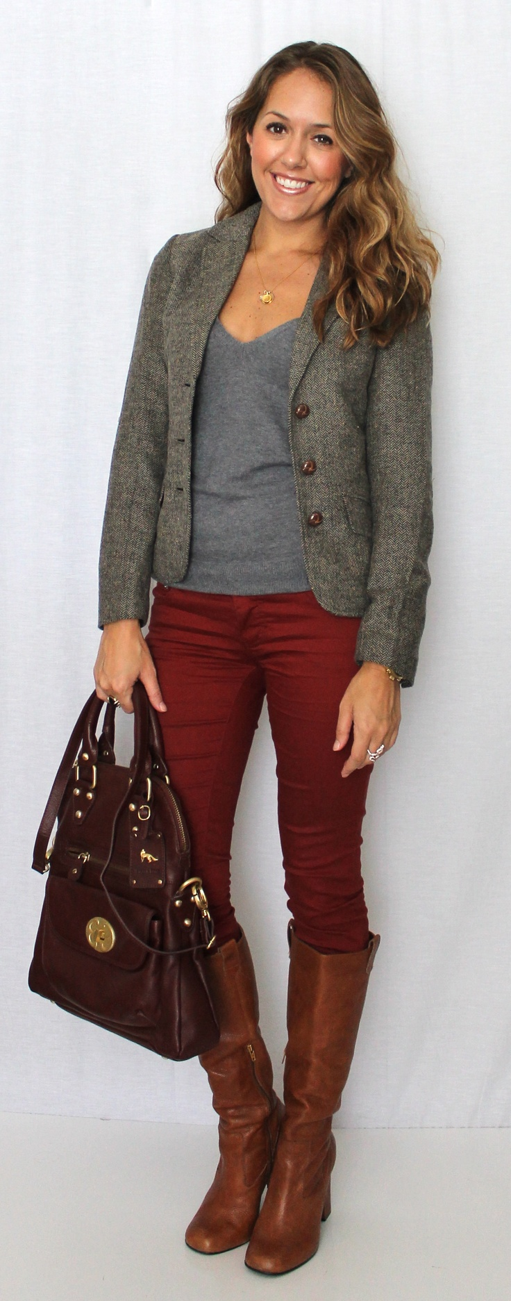 gray blazer and burgundy jeans and brown boots. I have these pieces.