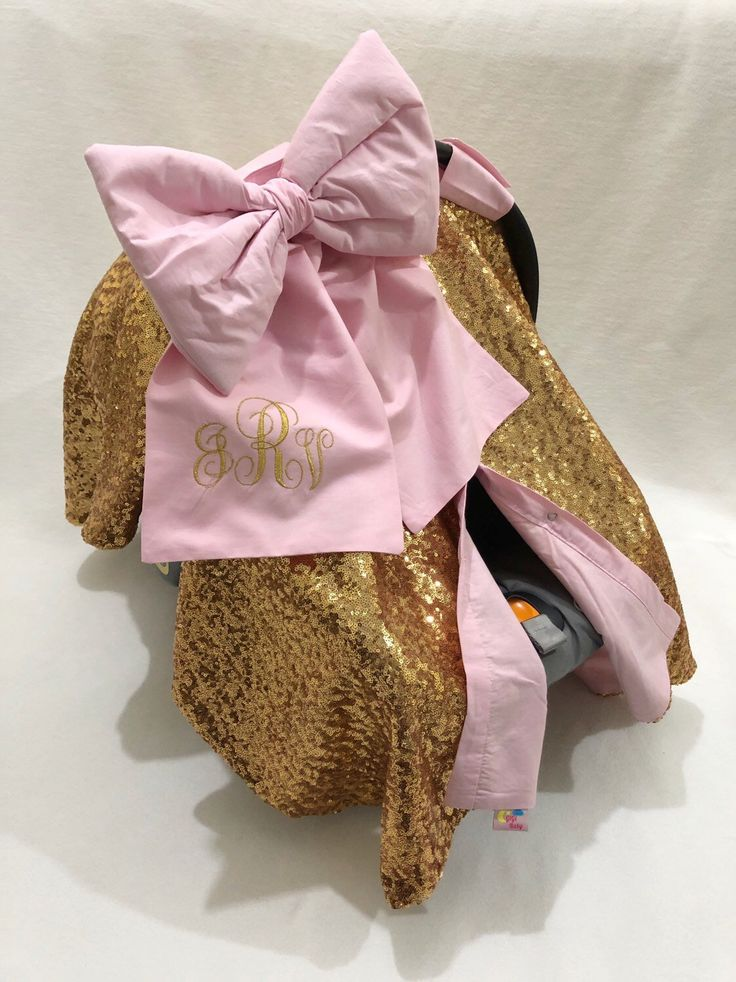 Lux Pink and Gold car seat canopy with big bow for baby girl, Personalized Car seat Cover, Car seat cover with bow and name