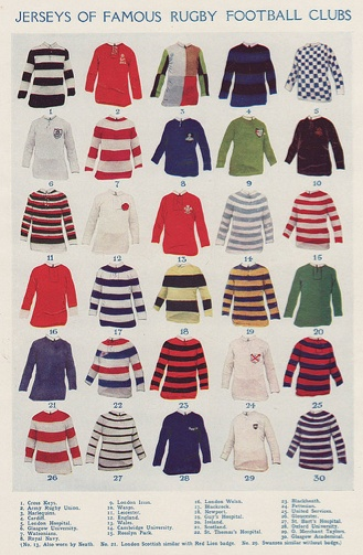 Famous Rugby Football Club Jerseys, via Rugby Pioneers blog