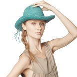 Gorgeous crocheted raffia cowboy hat for sale on Mar Y Sol ...   A fair trade handcrafts store that actually pays the crochet workers a fair wage for their labor.
