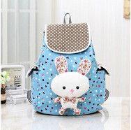Lovely Sweet Polka Dot Canvas Little Girl's Multifunctional Backpack w/Bunny 4 Colors