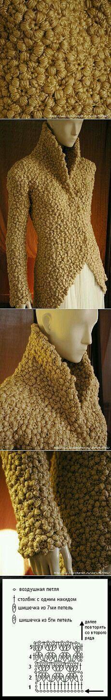 Flower knitted coat.