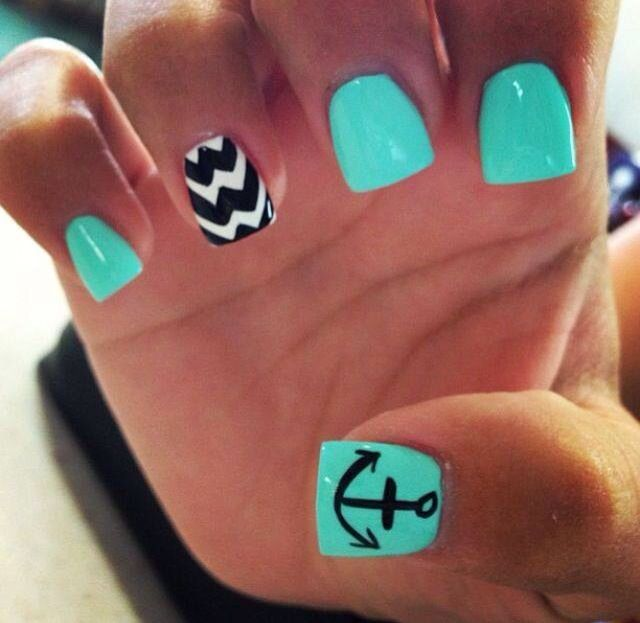 Anchor Nails. Love the mint green.❤️