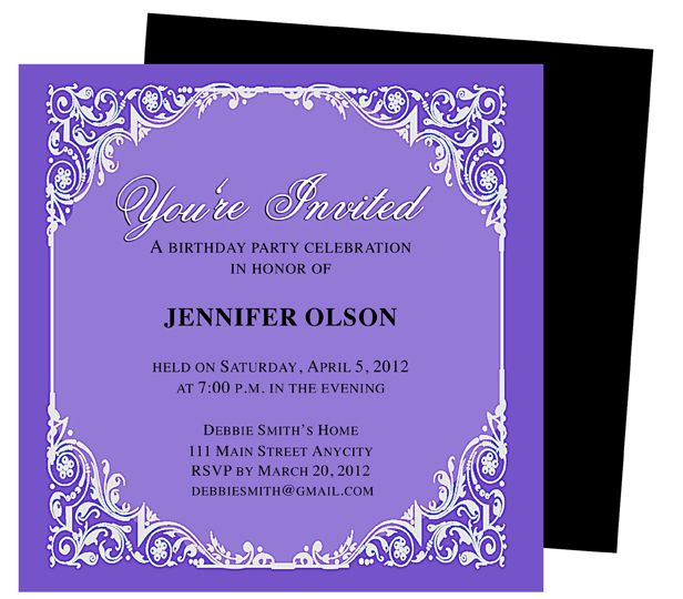 Elegant Birthday Invitation Template Party Invite Template Birthday Invitation Templates Wedding Invitation Card Template