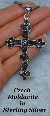 Large Genuine Czech Moldavite Cross Necklace - Sterling Silver - Meteorite - Tektite - C164009