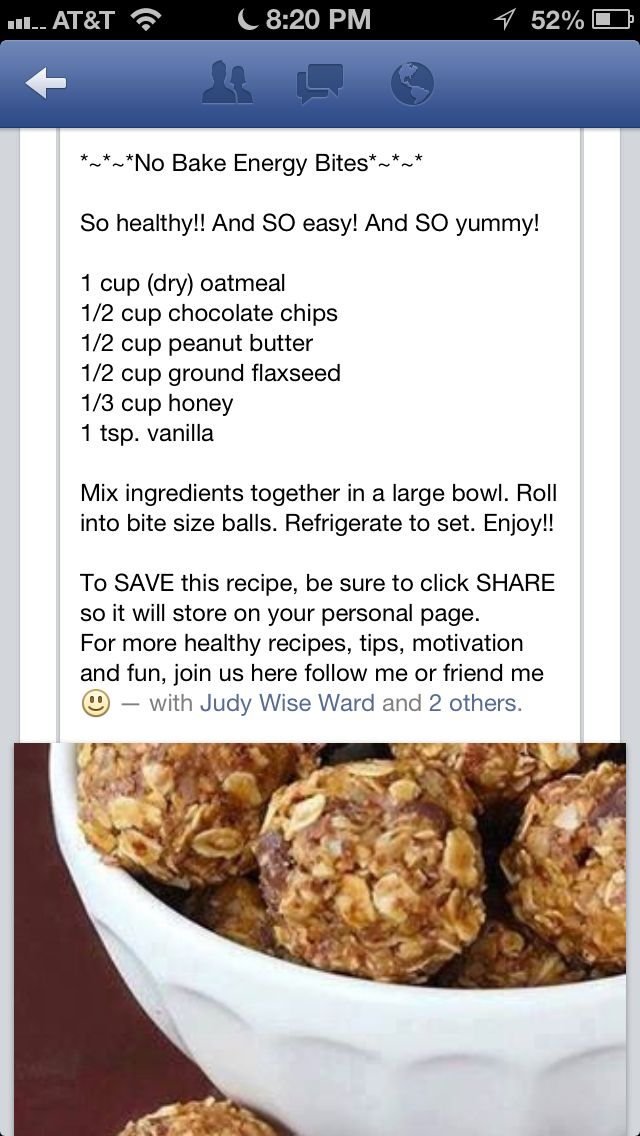 No bake energy Yoli Balls  1/2 cup Sunflower seeds 1/2 cup Raw pumpkin seeds 1 cup Natural unsweetened peanut butter 1/2 cup ground flax seed 1/2 chopped almonds 2 T Raw honey 1 tsp Pure Vanilla (opt)  Mix all ingredients together and roll into bite size balls. I like mine frozen ENJOY!