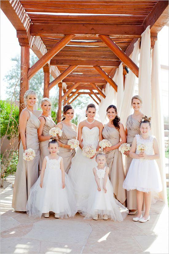 cream bridsmaid dresses #wedding http://elysehall.com/