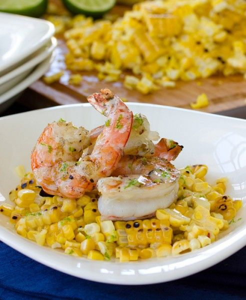 Corn with Grilled Shrimp and Creamy Lime Vinaigrette