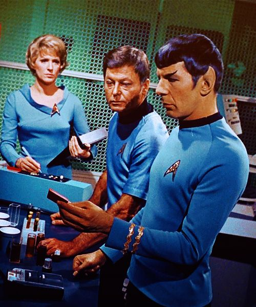 Nurse Chapel, Doctor McCoy, and First Officer Spock in Sickbay Lab