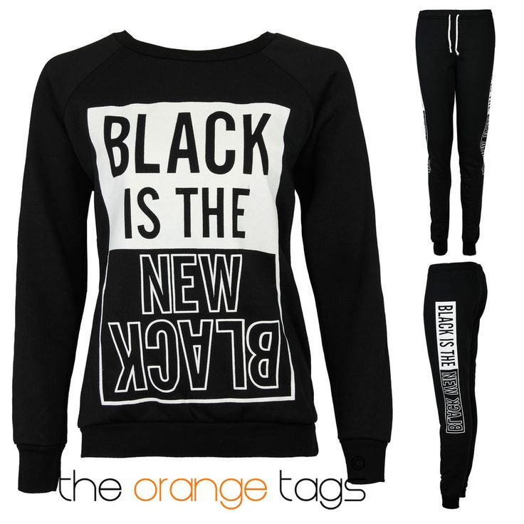 LADIES BLACK IS THE NEW BLACK WOMENS TRACKSUIT JOGGING BOTTOMS SWEATSHIRT in Clothes, Shoes & Accessories, Women's Clothing, Hoodies & Sweats | eBay