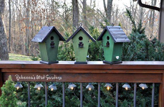 "St. Patrick's Day Rustic Hanging Birdhouse ~ ""The Irish Cottage"", Wren Birdhouse, Outdoor Birdhouse, Unique Birdhouse, Wooden Birdhouse"