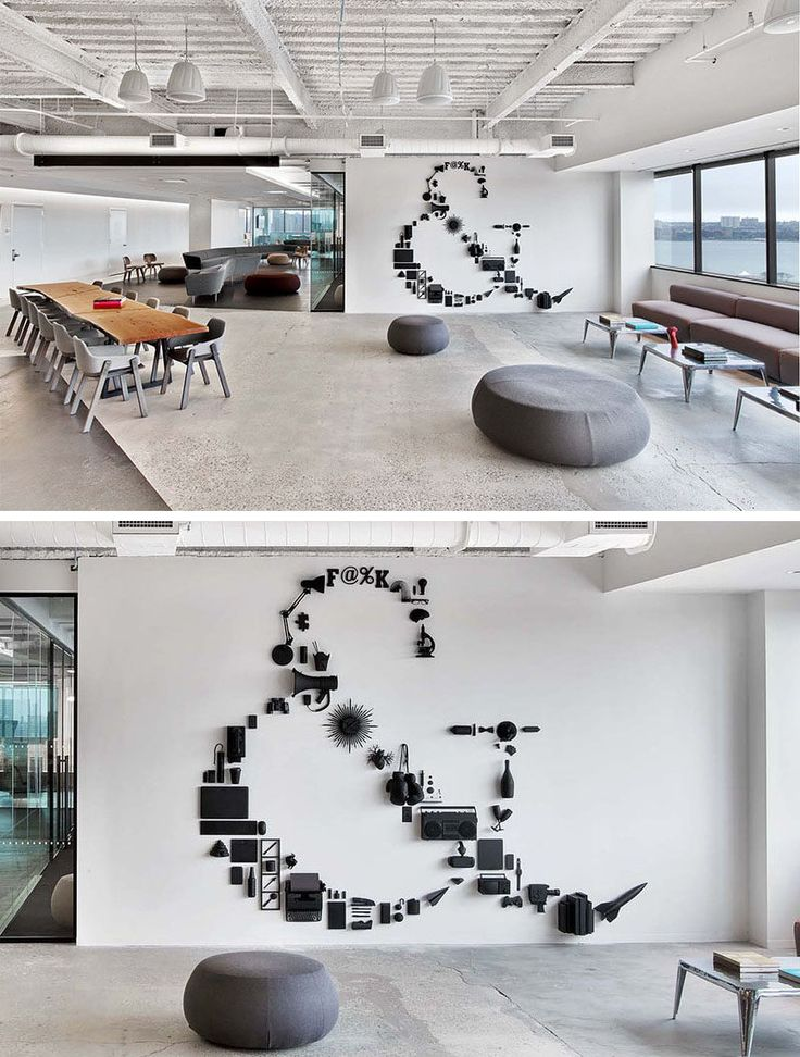 Office Wall Decor Ideas - What do a rocket, a pair of binoculars, a beer bottle, and a plastic heart all have in common? Not a lot, but if you paint them all the same color and carefully arrange them with other random objects, you can create a unique, contemporary matte black piece of wall art.