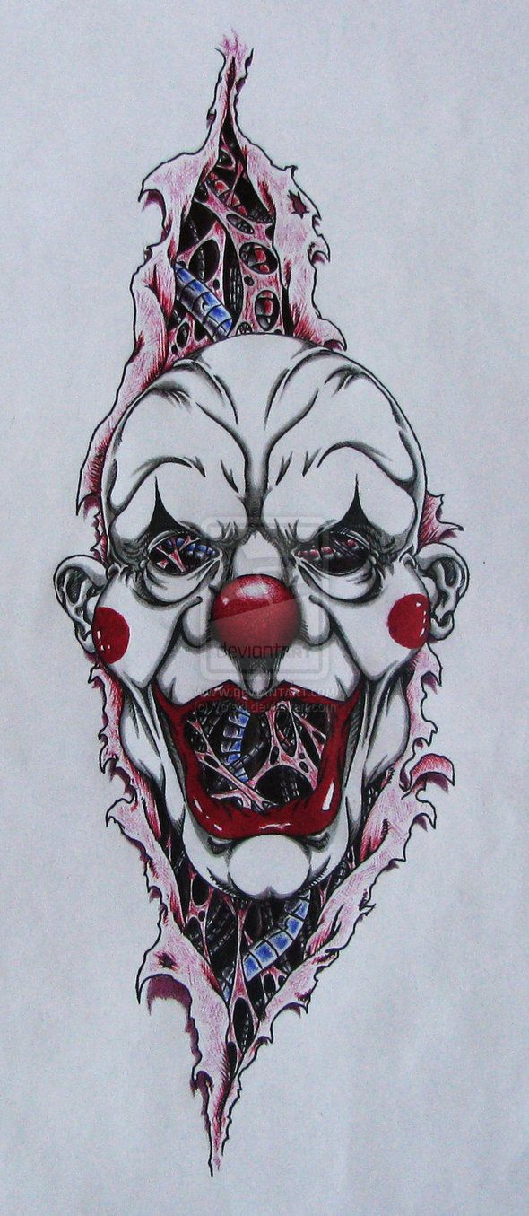 Ripped Skin Evil Clown Tattoo Design