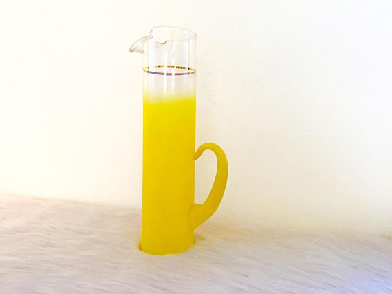 1960s Blendo W Virginia Ombre Yellow Pitcher Cocktail