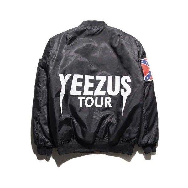 Yeezus Tour Bomber Jacket ❤ liked on Polyvore featuring outerwear, jackets, bomber style jacket, bomber jacket, flight jacket and blouson jacket