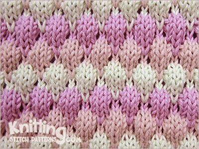 Bubble wrap stitch in three colors. This knitting pattern is available for free