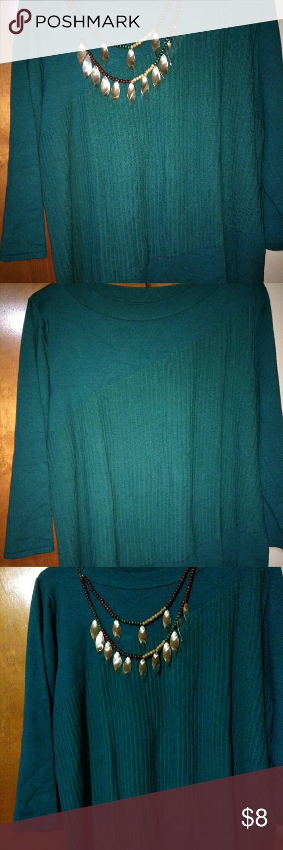 Teal blouse Pretty teal blouse, geometric design on front, stretchy material, almost sweater like. Apt. 9 Sweaters Crew & Scoop Necks