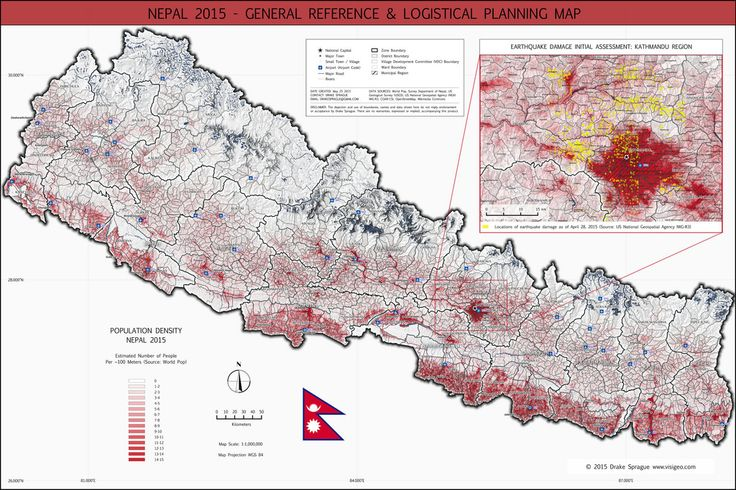 """I developed this general reference map in QGIS 2.8 """"Wien"""" to highlight at a scale of 1:1,000,000 the relationship between Nepal's population density (source: 2015 WorldPop) and the extreme overall topography. I used the QGIS Terrain Analysis tool to create a hill shade from SRTM 90 imagery (source: CGIAR-CSI). At this scale it is possible to show administrative layers with labels down to the district level, along with main roads and the locations of airports across the country (sources…"""