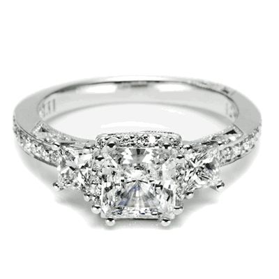 Three-stone Princess Cut Diamond Engagement ring from Tacori. - My dream ring! <3 - i hope my boyfriend proposes to me on my birthday with this style of ring! that would be so romantic! and my birthday is in the fall!