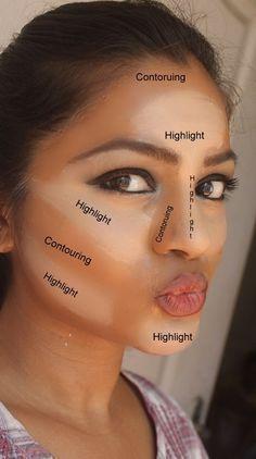Como contornar seu rosto como Kim Kardashian! Aplicar a estas áreas e misturar-se com uma esponja!!