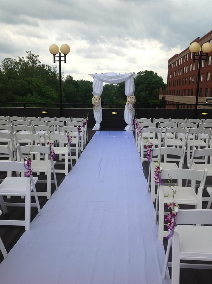 outdoor wedding ceremony sites in akron ohio%0A Whites and purples create delicate touches at this outdoor wedding ceremony  at the Sheraton Suites Akron