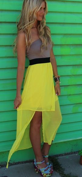 pretty: Summer Dresses, High Low Dresses, Color, Long Hair, Outfit, Yellow Skirts, One Shoulder, The Dresses, Neon Yellow