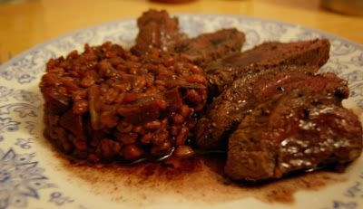 Venison Steak with Barley, Beetroot and Red Wine Orzotto