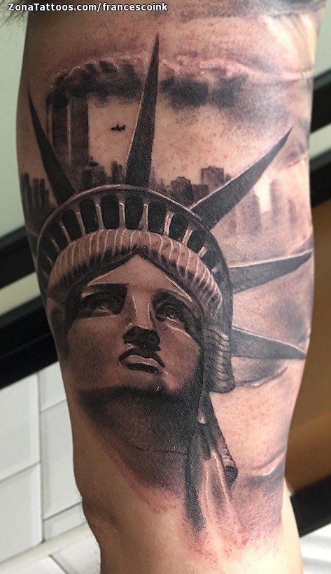 Tatuaje De Estatua De La Libertad Edificios Humo Tatuajes