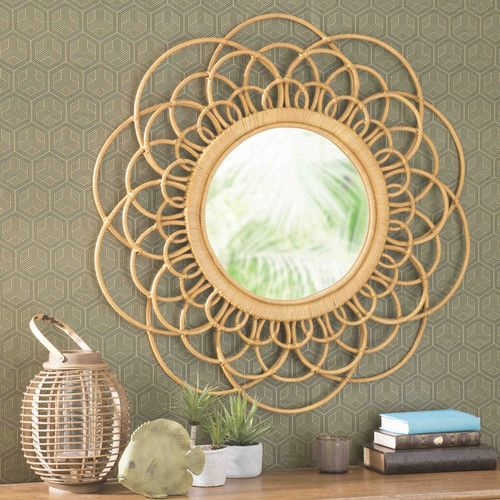 Specchio giallo in vimini D 90 cm VALPARAISO