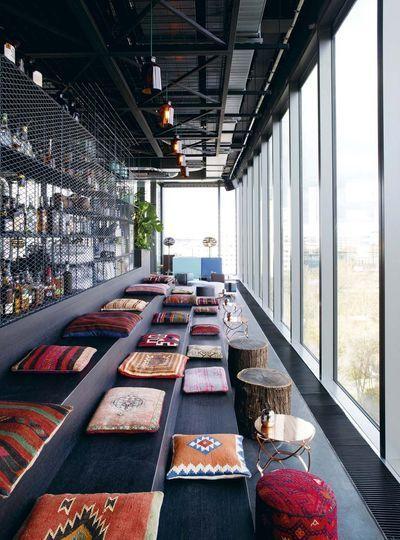 Bar at the 25 Hours Hotel Bikini, Berlin designed by Paul Schwebes/Hans Schoszberger (1995) ; Hild und K Architekten (2013)