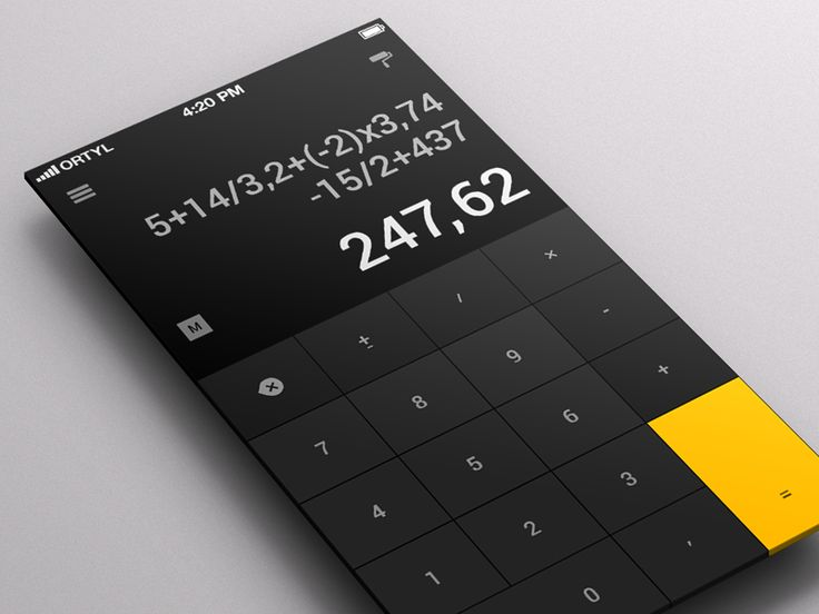 calculator app 20 Fantastic Examples of Flat UI Design In Apps