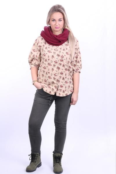 Dorothy Perkins Womens 14 XL Casual Shirt Beige Short Sleeve Flowers Print Corduroy - RetrospectClothes