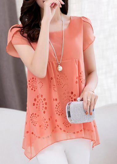 Short Sleeve Pierced Asymmetric Hem Blouse T Shirt, free shipping worldwide and cheap price, check it out at rosewe.com.