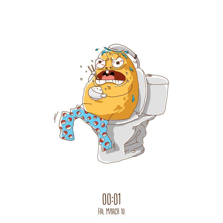 Shit, I'm Late For School  #art #artwork #dailyart #multitasking #rice #illustration #shower #poop #shit #eat #expression #girls #potato #panic #food #sketch #skecthbook #digitaart #digitaldrawing #draw #drawing #paint #doodle #photoshop #design #graphicdesign